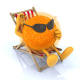 Sun with sunglasses lying on beach chair. The sun with sunglasses lying on beach chair, 3d illustration Stock Photography
