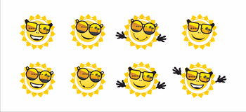 Sun and sunglasses Stock Image