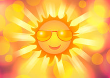 Sun in sunglasses and a smile on the background of abstraction. Vector illustration. Sun in sunglasses and a smile on the background of abstraction Royalty Free Stock Photos