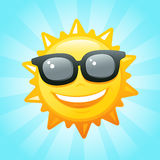 Sun with sunglasses. Smiling sun sunglasses in sky vector illustration Stock Photo