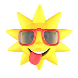 Sun with sunglasses smiling Royalty Free Stock Photos