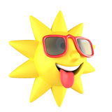Sun with sunglasses smiling Stock Photos
