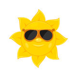 Sun with sunglasses on white background Stock Photo