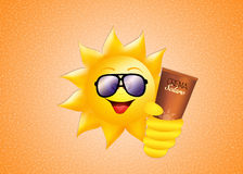 Sun with sunscreen Stock Photo