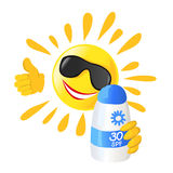 Sun and sunscreen isolated Stock Images