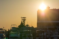 Sun At Sunset and Cityscape in a Torrid Day. Destin Beach, Florida. Sun At Sunset and Cityscape in a Torrid Day. Destin Beach royalty free stock photography