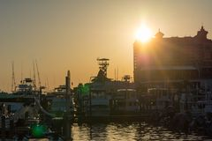 Sun At Sunset and Cityscape in a Torrid Day. Destin Beach, Florida stock photography