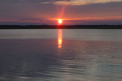 Sun At Sunset Lake Royalty Free Stock Photos