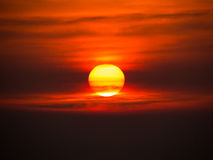 The sun at sunset Stock Photography