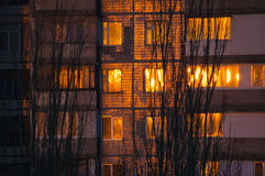 sun at sunset reflected in the windows Royalty Free Stock Photo