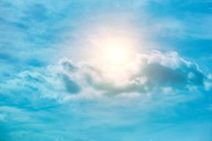 Sun, sunset, sunrise. Sky; sun; summer; sunny; weather; nature; blue; sunlight; light; background; white; outdoor; cloudy; cumulus; landscape; high; season Royalty Free Stock Photos
