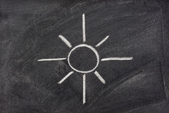 Sun, sunshine, and light symbol on blackboard Stock Image