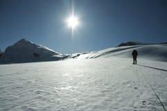 Sun sur la haute montagne Image stock