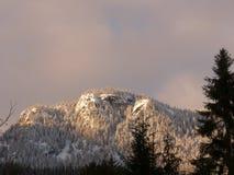 Sun sur le bluff neigeux Images stock