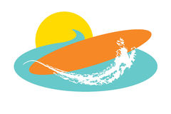 Sun Surf. Graphic of sun behind ocean with surfboard and white wave splash Stock Images