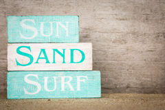 Sun Surf Sand Wood Blocks Royalty Free Stock Photography