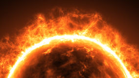 Sun surface with solar flares. Abstract scientific background Stock Image