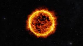 Sun surface. With solar flares. 3D animation Stock Photography