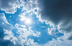 The sun is surrounded by rain clouds Royalty Free Stock Image