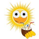 Sun sweet and cute drink coconut milk vector illustration Stock Photos