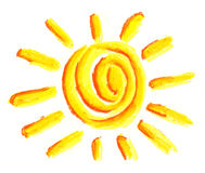 Sun symbol. Children painting on the paper Royalty Free Stock Photo