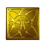 Sun symbol. Ancient symbol of the sun in bronze material royalty free illustration