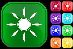 Sun symbol. On shiny square buttons Royalty Free Stock Image