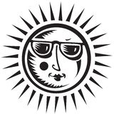 Sun Symbol. Sun Face wearing Sunglasses with rays Royalty Free Stock Images