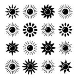 Sun symbol collection. Flat black & white vector icon set. Sunlight signs. Weather forecast. Isolated object. On white background royalty free illustration