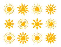 Sun symbol collection. Flat vector icon set. Sunlight signs. Weather forecast. Isolated object. On white background royalty free illustration