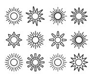 Sun symbol collection. Line vector icon set. Sunlight signs. Weather forecast. Isolated objects. Sun symbol collection. Line vector icon set. Sunlight signs vector illustration