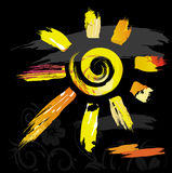 Sun symbol from color splashes and line brushes. Vector Royalty Free Stock Photo