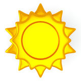 Sun symbol, 3d. Golden sun symbol with blank round background in the center, 3d illustration stock illustration