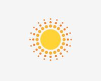 Sun symbol design logo . Solar energy company sign. Sun sign Royalty Free Stock Images