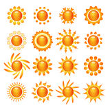 Sun symbol icons set Stock Photos
