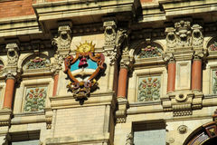 Sun symbol on Palacio de Aguas Corrientes in Buenos Aires. The Water Company Palace. The Palace of Flowing Waters an architecturally significant water pumping royalty free stock photos