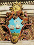 Sun symbol on Palacio de Aguas Corrientes in Buenos Aires Stock Image