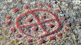 Sun symbol rock carving Stock Photos