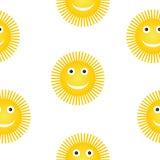 Sun symbol seamless pattern. Royalty Free Stock Images