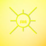 Sun symbol. Sun vector, summer  icon, drawing, spring ray, yello Royalty Free Stock Image