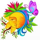 Sun and symbols of nature Stock Photo