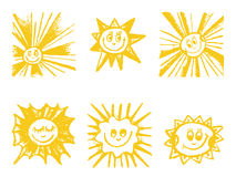 Sun symbols set. Royalty Free Stock Photo