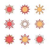 Sun symbols set Royalty Free Stock Image