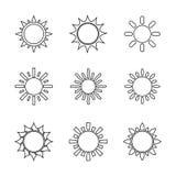 Sun symbols set Royalty Free Stock Images