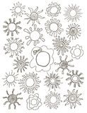 Sun symbols for your design. Hand drawn set of Royalty Free Stock Photos