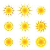 Sun-Symbolsatz Lizenzfreies Stockfoto
