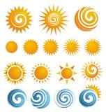Sun symbolsset stock illustrationer