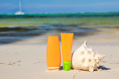 Sun tan tubes and seashell on beach Stock Image