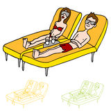 Sun Tanning Couple. An image of a man and woman on lounge chairs sun tanning Royalty Free Stock Images