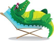 Sun tanning croc Royalty Free Stock Image